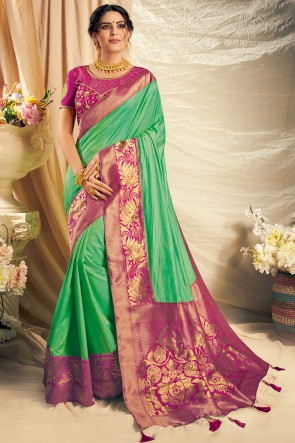 Party Wear Parrot Green Thread Work And Embroidered Silk Saree With Embroidered Blouse