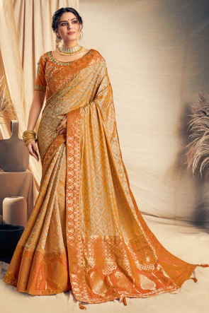 Splendid Mustard Thread Work And Embroidered Silk Saree With Embroidered Blouse