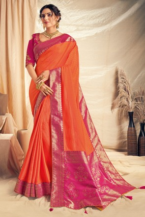 Orange Thread Work And Embroidered Designer Saree With Embroidered Blouse