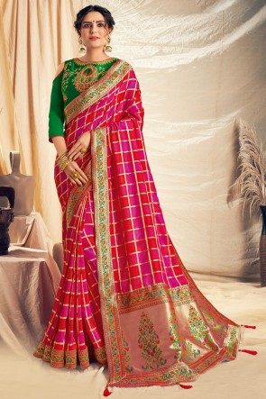 Thread Work And Embroidered Pink Silk Designer Saree With Embroidered Blouse