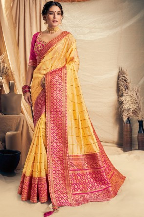 Yellow Thread Work And Embroidered Silk Saree With Border Work Blouse