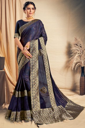 Lovely Charcoal Thread Work And Embroidered Designer Silk Saree With Border Work Blouse