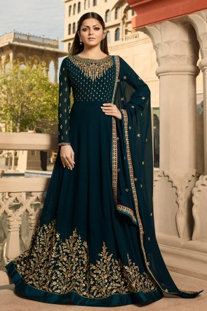 Charming Navy Blue Embroidered Georgette Drashti Dhami Anarkali Suit And Dupatta