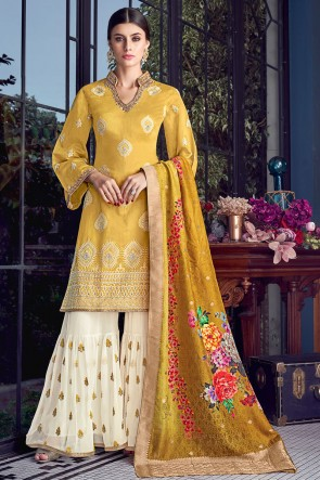 Delightful Yellow Embroidered Silk Plazzo Suit With Jacquard Dupatta