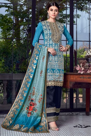Charming Sky Blue Embroidered Silk Plazzo Suit With Jacquard Dupatta