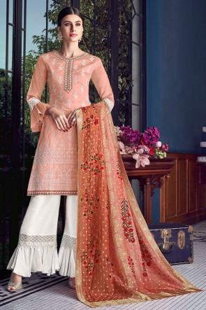 Gorgeous Embroidered Peach Gold Silk Plazzo Suit With Jacquard Dupatta