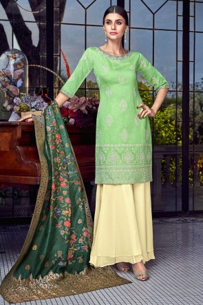 Party Wear Light Green Embroidered Silk Plazzo Suit With Jacquard Dupatta