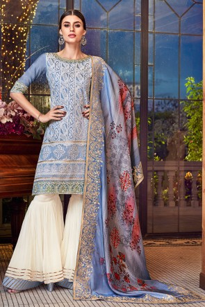 Grey Embroidered Silk Plazzo Suit With Jacquard Dupatta