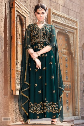 Green Faux Georgette Fabric Embroidered And Lace Work Abaya Style Anarkali Suit With Chiffon Dupatta