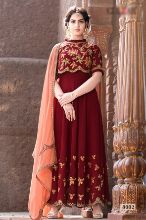 Excellent Faux Georgette Fabric Red Embroidered And Beads Work Abaya Style Anarkali Suit And Dupatta
