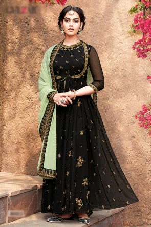 Faux Georgette Fabric Black Beads Work And Lace Work Abaya Style Anarkali Suit With Chiffon Dupatta