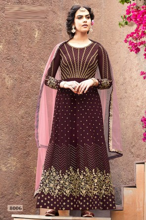 Coffee Faux Georgette Fabric Beads Work Abaya Style Anarkali Suit With Net Dupatta