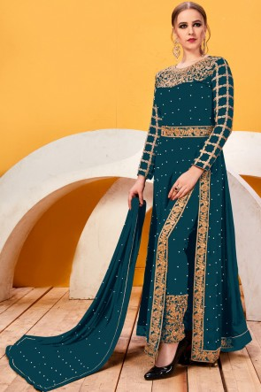 Appealing Embroidery And Lace Work Teal Faux Georgette Salwar Suit With Chiffon Dupatta