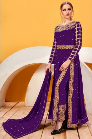 Party Wear Embroidery And Beads Work Purple Faux Georgette Salwar Suit With Chiffon Dupatta