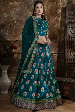 Beads Work And Embroidery Work Sea Green Silk Lehenga Choli With Net Dupatta