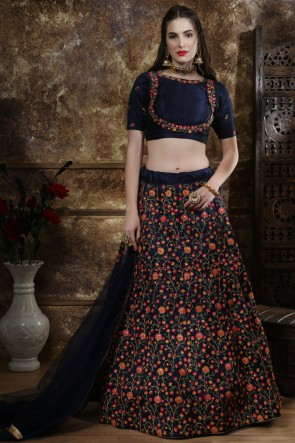 Lace Work And Beads Work Navy Blue Silk Stylish Lehenga Choli With Net Dupatta