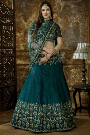 Graceful Lace And Beads Work Green Satin Fabric Lehenga Choli With Net Dupatta