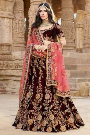 Admirable Maroon Lace Work And Beads Work Designer Georgette Silk Lehenga With Art Silk Blouse