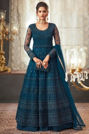 Navy Blue Embroidery And Beads Work Designer Net Fabric Abaya Style Anarkali Suit And Dupatta