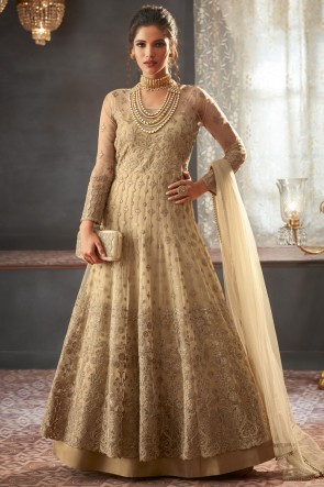 Pretty Lace Work And Beads Work Beige Net Fabric Abaya Style Anarkali Suit And Santoon Bottom