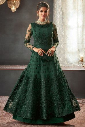 Marvelous Green Net Fabric Embroidery And Beads Work Abaya Style Anarkali Suit And Dupatta