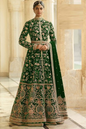 Lace Work And Beads Work Blue Velvet Fabric Abaya Style Anarkali Suit And Dupatta
