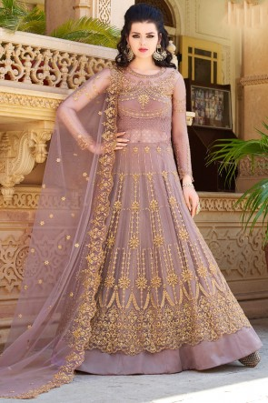 Designer Wine Embroidered And Beads work Net Lehenga Suit And Dupatta