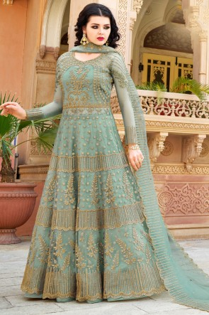 Sky Blue Embroidered And Lace work  Lehenga Suit And Dupatta