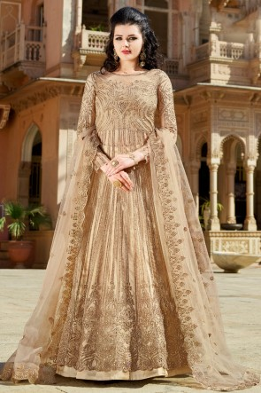 Beige Embroidered And Beads work Net Lehenga Suit And Dupatta