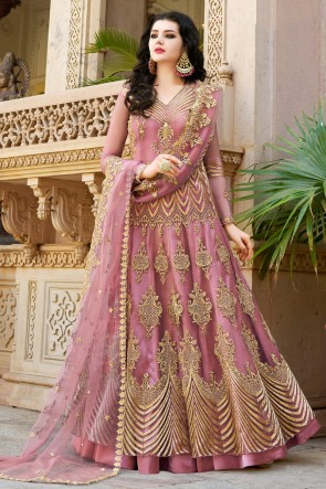 Wine Designer Net Embroidered And Lace work Lehenga Suit And Dupatta