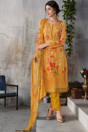Lovely Embroidered Yellow Georgette Salwar Kameez With Chiffon Dupatta