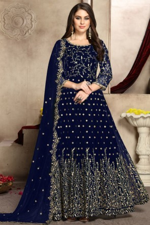 Charming Navy Blue Embroidered Georgette Anarkali Suit And Dupatta