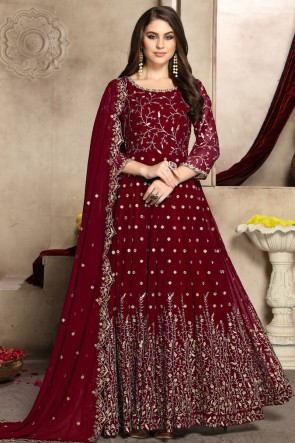 Designer Maroon Embroidered Georgette Anarkali Suit With And Dupatta