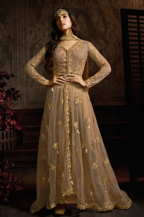Chikoo Embroidered Net Anarkali Suit With And Dupatta