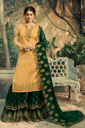 Party Wear Mustard Amyra Dastur Beads work And Lace Work Georgette Satin Lehenga Suit And Dupatta