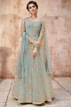 Embroidery And Beads work Designer Sky Blue Net Fabric Abaya Style Anarkali Suit And Dupatta