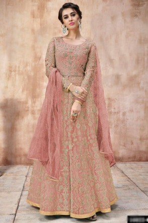 Heavy Designer Prach Net Fabric Embroidery And Beads Work Abaya Style Anarkali Suit And Depatta