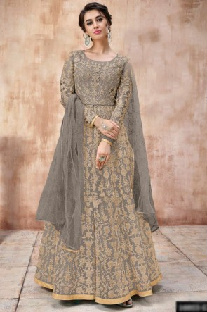 Beads Work And Lace Work Grey Abaya Style Anarkali Suit With Net Dupatta