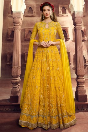 Splendid Embroidered Yellow Net Lehenga Suit And Dupatta