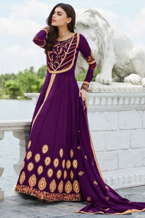 Charming Purple Embroidered Georgette Anarkali Suit And Dupatta