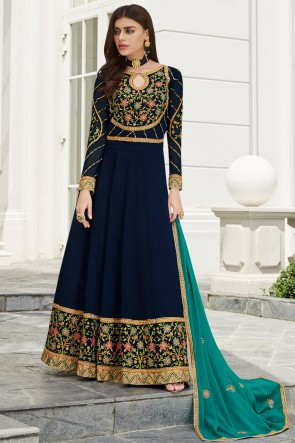 Navy Blue Embroidered Georgette Anarkali Suit And Dupatta