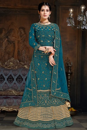 Pretty Teal Embroidered Satin Lehenga Choli With Net Dupatta