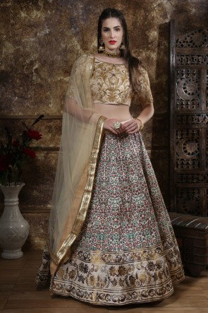 Excellent Silk Grey Embroidered And Sequins Lehenga Choli With Net Dupatta