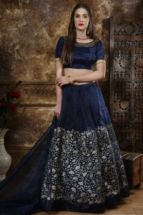 Dazzling Navy Blue Embroidered And Sequins Organza Lehenga Choli With Net Dupatta