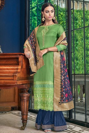 Lovely Green Embroidered And Lace Work Satin Plazzo Suit With Jacquard Dupatta