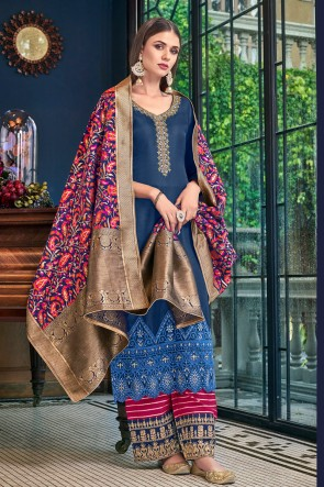 Splendid Navy Blue Embroidered And Lace Work Satin Plazzo Suit With Jacquard Dupatta