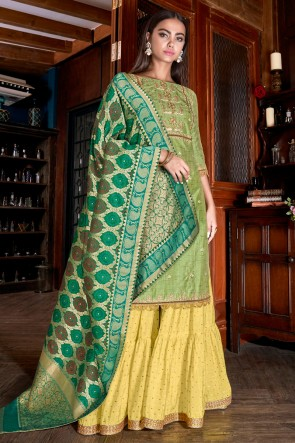 Stunning Silk Light Green Embroidered And Lace Work Plazzo Suit With Jacquard Dupatta