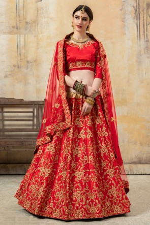 Satin Fabric Red Lace And Embroidery Work Lehenga Choli With Net Dupatta