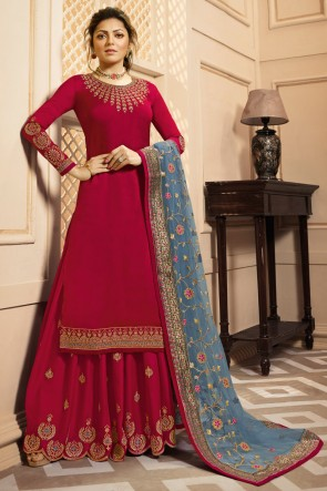 Drashti Dhami Party Wear Lace Work Red Georgette Satin Plazzo Suit With Net Dupatta