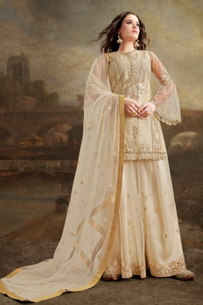 Off White Net Silk Fabric Embroidery Work And Lace Work Plazzo Suit And Dupatta